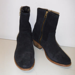 H by Hudson Riley Double Zip Blue Suede Boots 36